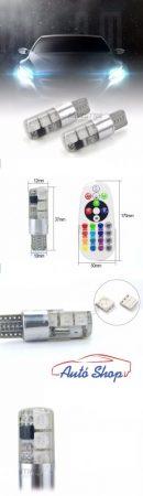 T10 194 168 W5W 5050 SMD RGB Ledes izzó 6 LED/izzó  16 színben /Távirányitó