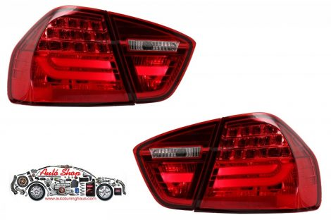 LED-es fényszórók BMW 3-as sorozatú E90 (2005-2008) LED-es  LCI Design Red / Smoke